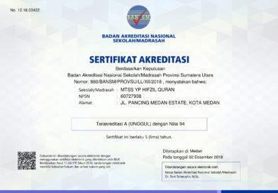 Madrasah Tsanawiyah Hifzhil Qur'an Yayasan Islamic Centre Sumatera Utara Meraih Akreditasi A